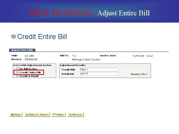 MINI-TRAINING: Adjust Entire Bill T Credit Entire Bill