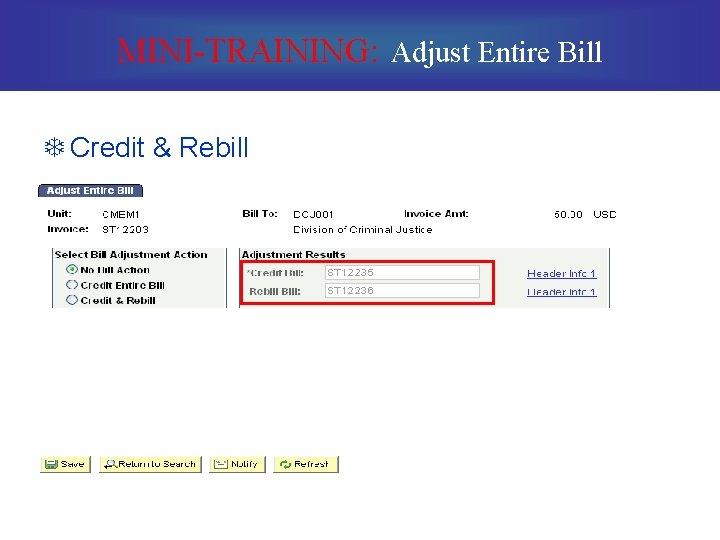 MINI-TRAINING: Adjust Entire Bill T Credit & Rebill