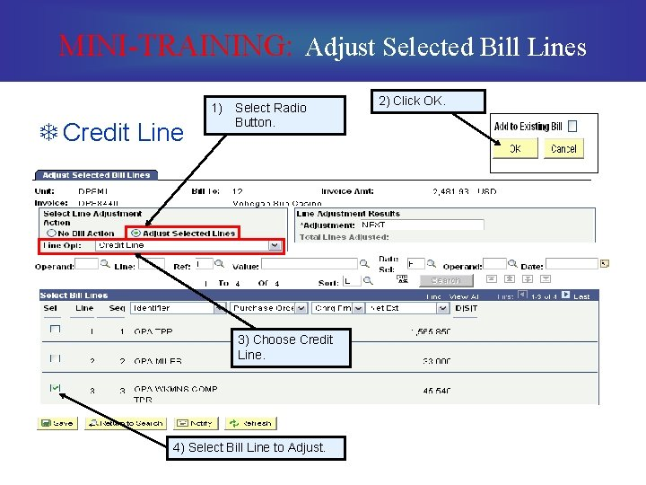 MINI-TRAINING: Adjust Selected Bill Lines T Credit Line 1) Select Radio Button. 3) Choose