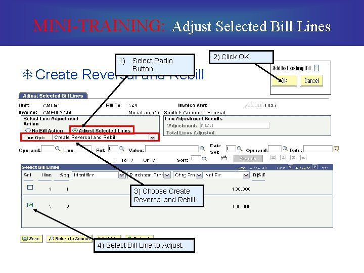 MINI-TRAINING: Adjust Selected Bill Lines 1) Select Radio Button. T Create Reversal and Rebill