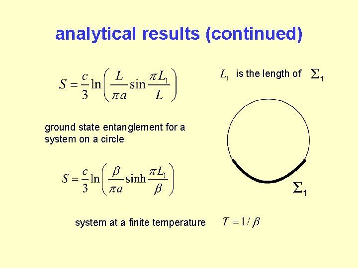 analytical results (continued) is the length of ground state entanglement for a system on