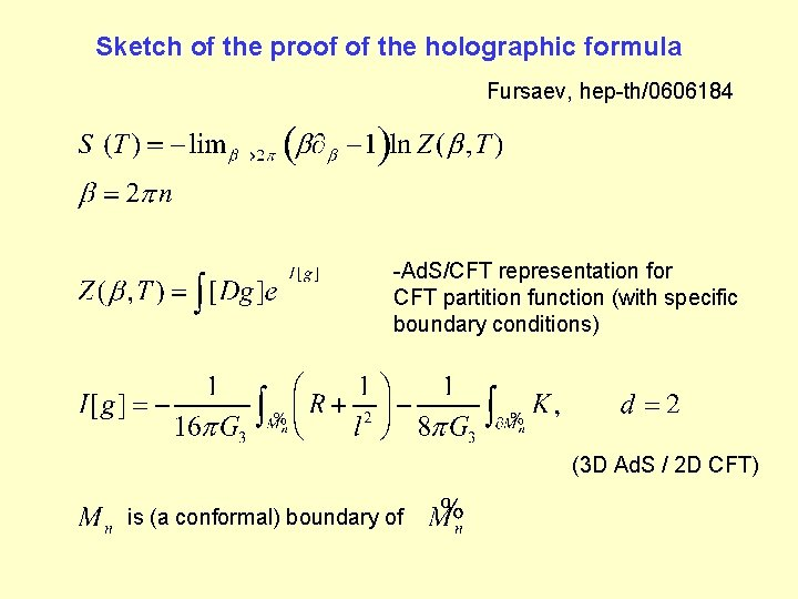 Sketch of the proof of the holographic formula Fursaev, hep-th/0606184 -Ad. S/CFT representation for