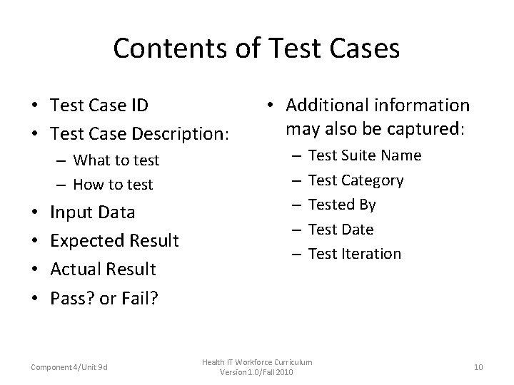 Contents of Test Cases • Test Case ID • Test Case Description: – What