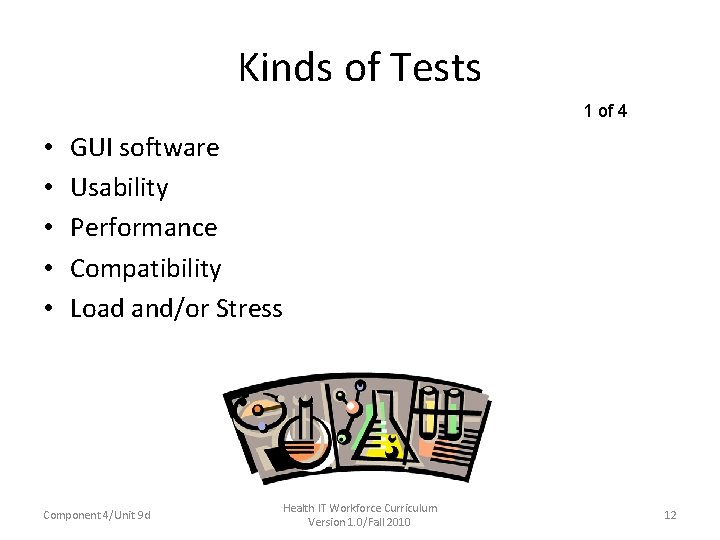Kinds of Tests 1 of 4 • • • GUI software Usability Performance Compatibility