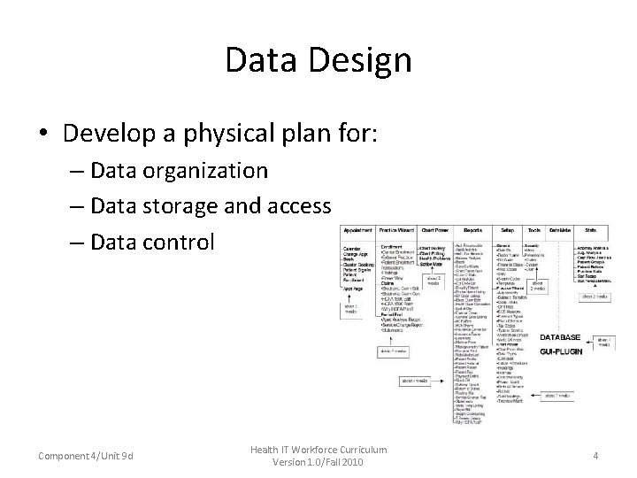 Data Design • Develop a physical plan for: – Data organization – Data storage