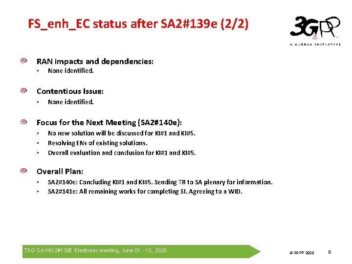 FS_enh_EC status after SA 2#139 e (2/2) RAN impacts and dependencies: • None identified.