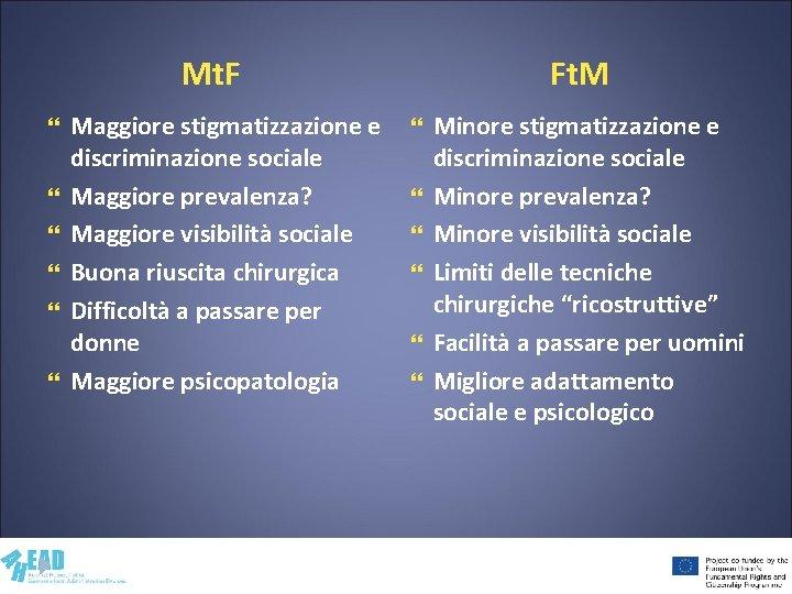 Mt. F Ft. M Maggiore stigmatizzazione e discriminazione sociale Maggiore prevalenza? Maggiore visibilità sociale