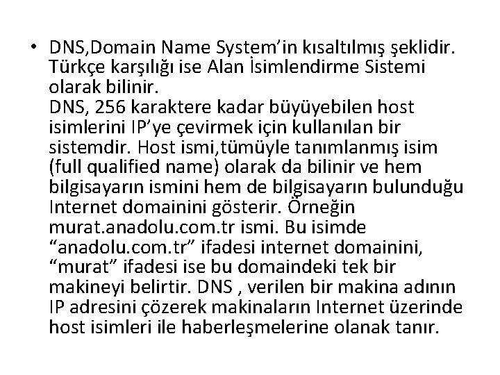 • DNS, Domain Name System'in kısaltılmış şeklidir. Türkçe karşılığı ise Alan İsimlendirme Sistemi