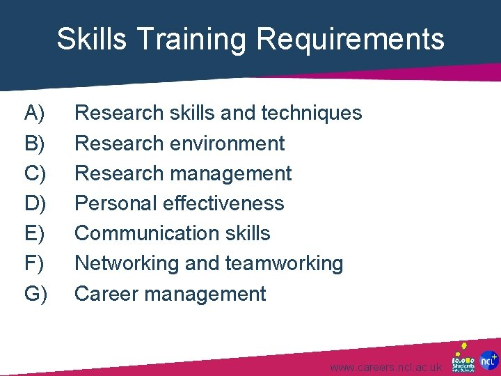 Skills Training Requirements A) B) C) D) E) F) G) Research skills and techniques