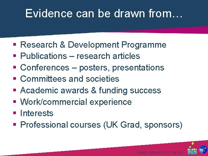 Evidence can be drawn from… § § § § Research & Development Programme Publications