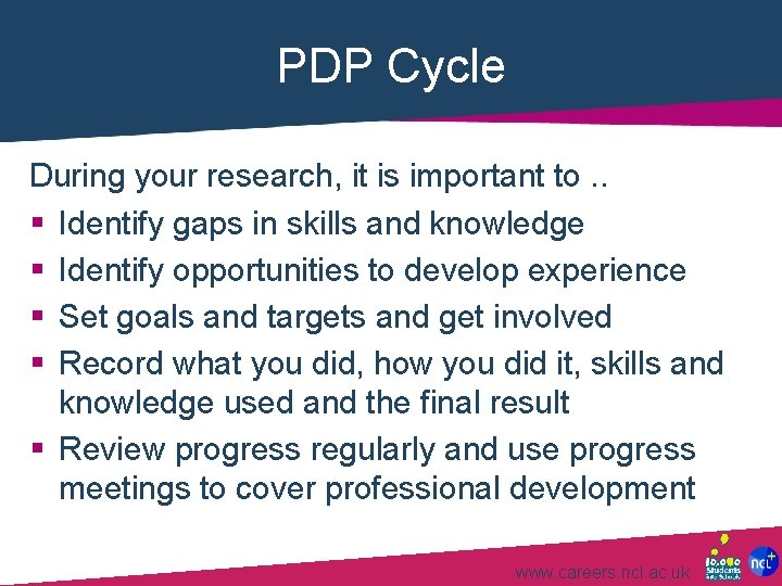 PDP Cycle During your research, it is important to. . § Identify gaps in
