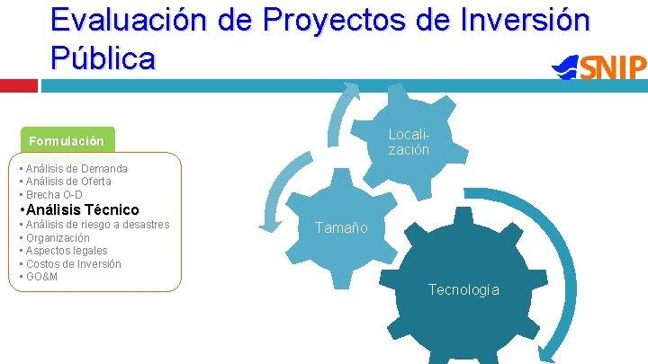 Evaluación de Proyectos de Inversión Pública Locali- zación Formulación • Análisis de Demanda •