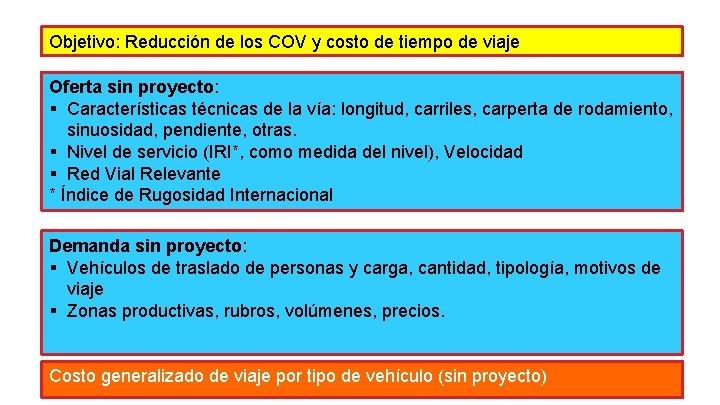Objetivo: Reducción de los COV y costo de tiempo de viaje Oferta sin proyecto: