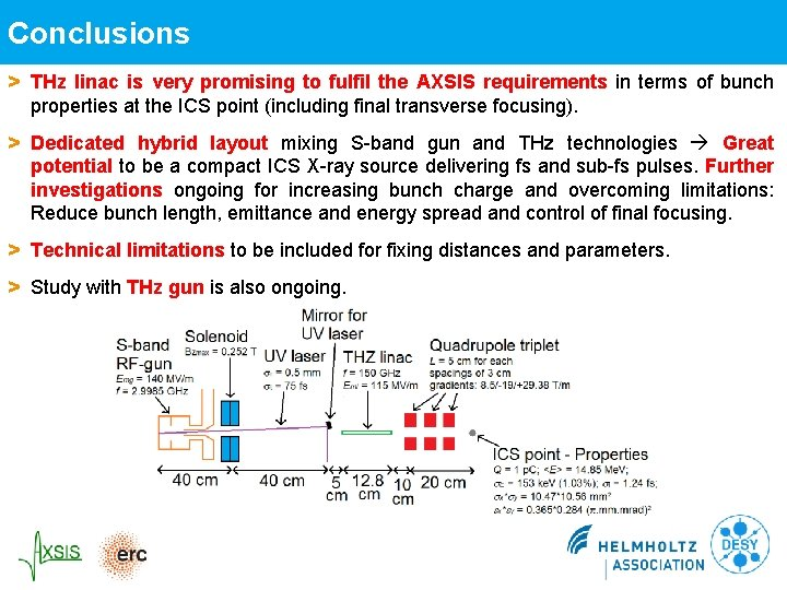 Conclusions > THz linac is very promising to fulfil the AXSIS requirements in terms