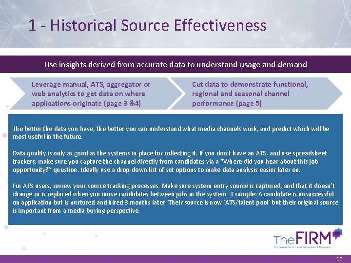 1 - Historical Source Effectiveness Use insights derived from accurate data to understand usage