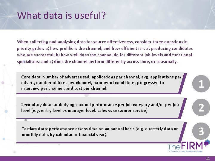 What data is useful? When collecting and analysing data for source effectiveness, consider three