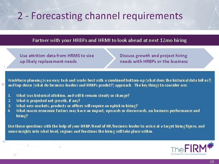 2 - Forecasting channel requirements Partner with your HRBPs and HRMI to look ahead