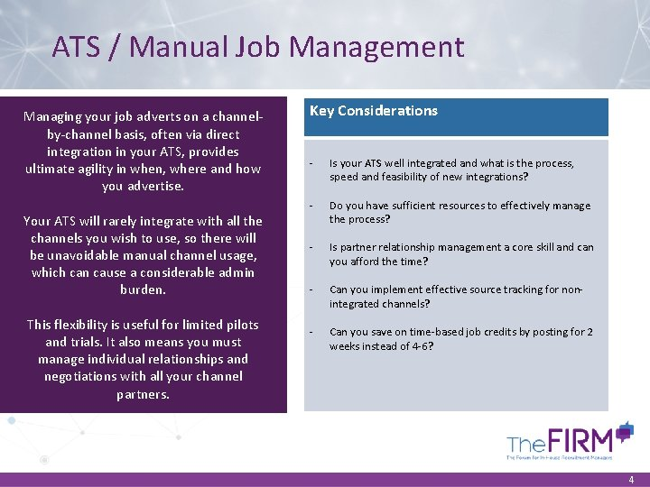 ATS / Manual Job Management Managing your job adverts on a channelby-channel basis, often