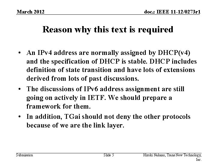 March 2012 doc. : IEEE 11 -12/0273 r 1 Reason why this text is