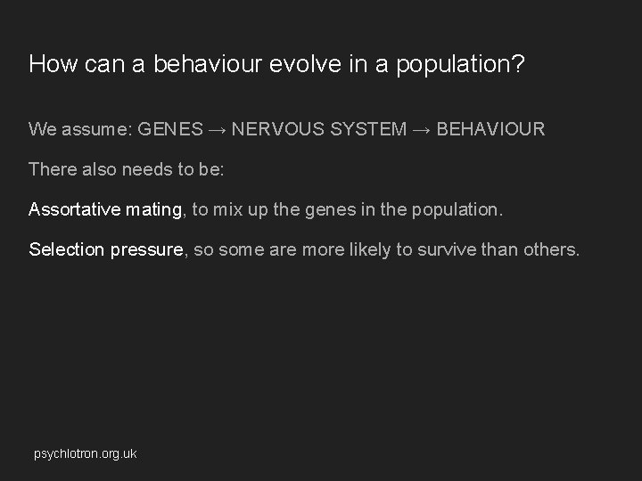How can a behaviour evolve in a population? We assume: GENES → NERVOUS SYSTEM
