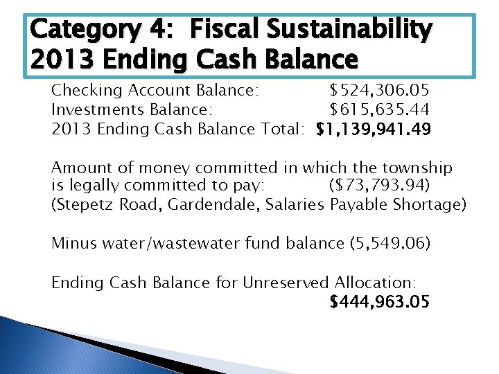 Category 4: Fiscal Sustainability 2013 Ending Cash Balance Checking Account Balance: $524, 306. 05
