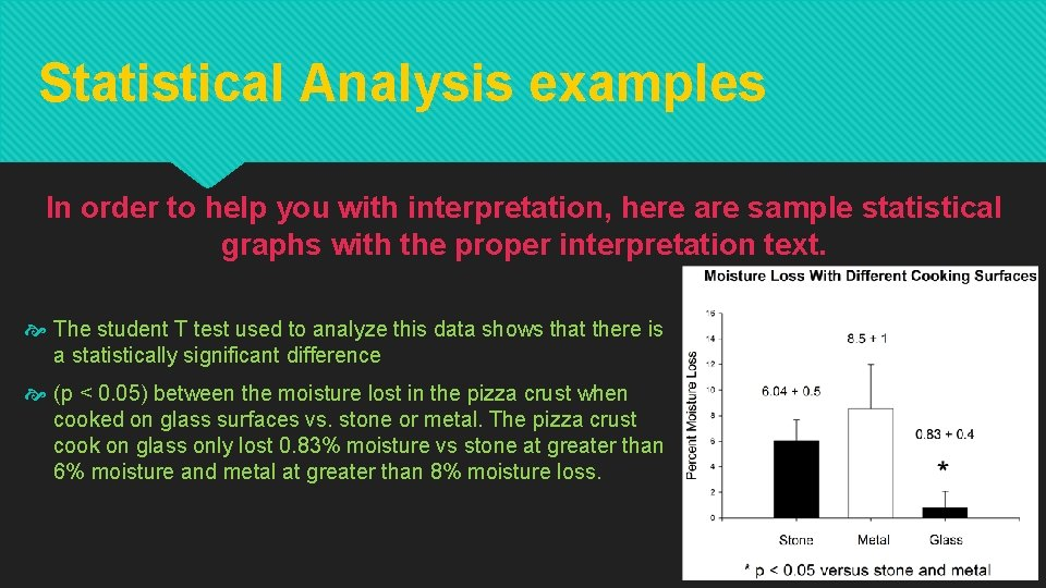 Statistical Analysis examples In order to help you with interpretation, here are sample statistical
