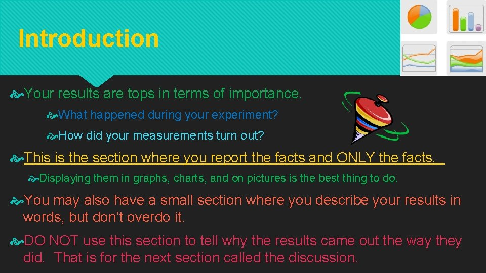 Introduction Your results are tops in terms of importance. What happened during your experiment?
