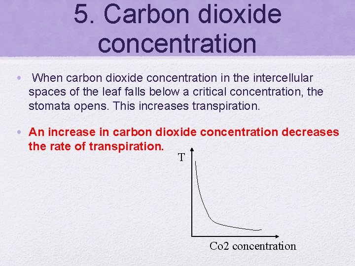 5. Carbon dioxide concentration • When carbon dioxide concentration in the intercellular spaces of