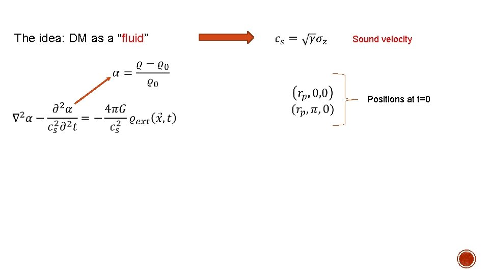 """The idea: DM as a """"fluid"""" Sound velocity Positions at t=0"""