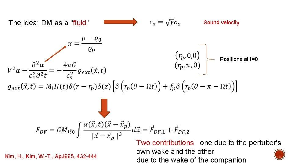 "The idea: DM as a ""fluid"" Sound velocity Positions at t=0 Kim, H. ,"