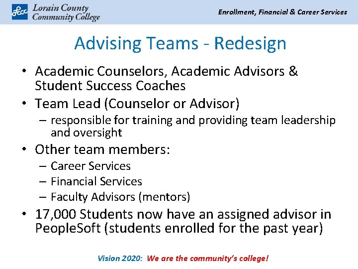 Enrollment, Financial & Career Services Advising Teams - Redesign • Academic Counselors, Academic Advisors