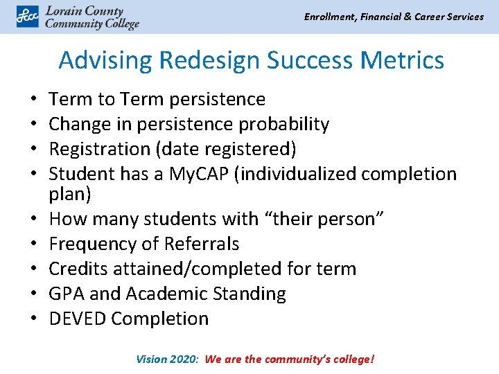 Enrollment, Financial & Career Services Advising Redesign Success Metrics • • • Term to