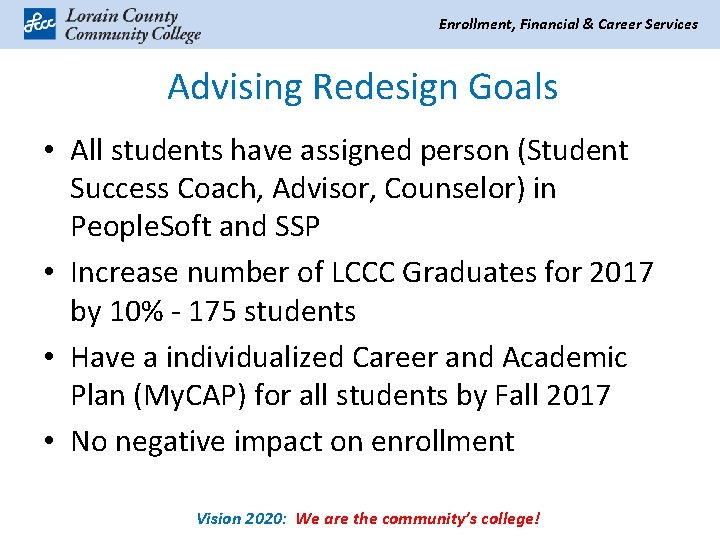 Enrollment, Financial & Career Services Advising Redesign Goals • All students have assigned person