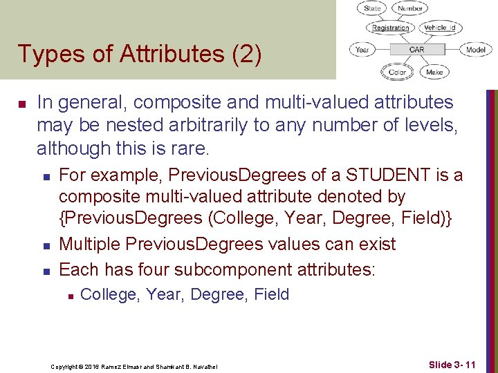 Types of Attributes (2) n In general, composite and multi-valued attributes may be nested
