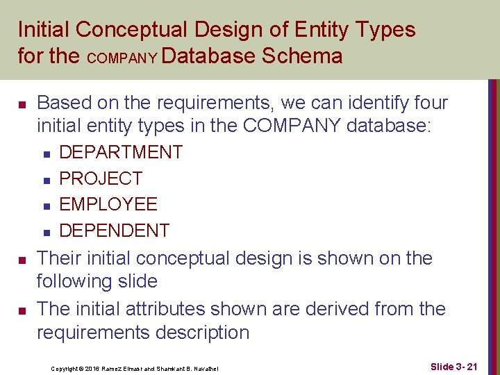 Initial Conceptual Design of Entity Types for the COMPANY Database Schema n Based on