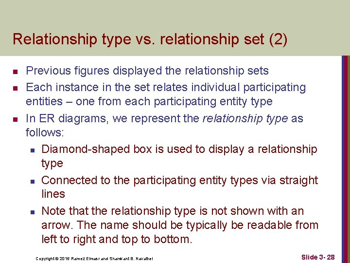Relationship type vs. relationship set (2) n n n Previous figures displayed the relationship