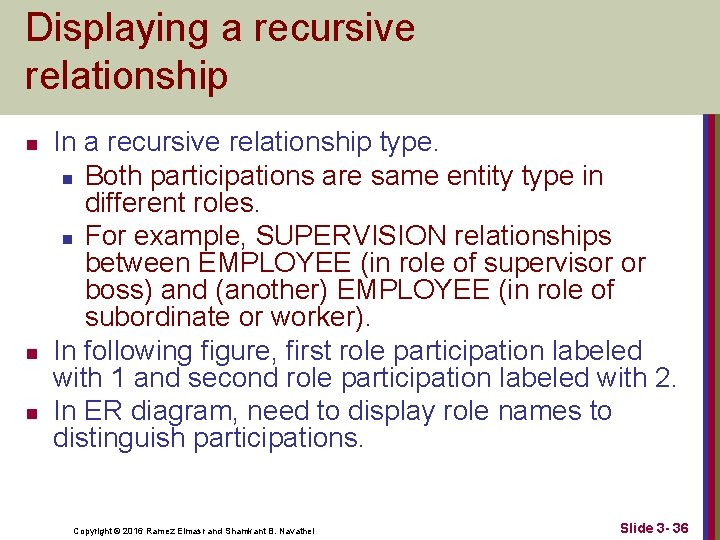 Displaying a recursive relationship n n n In a recursive relationship type. n Both