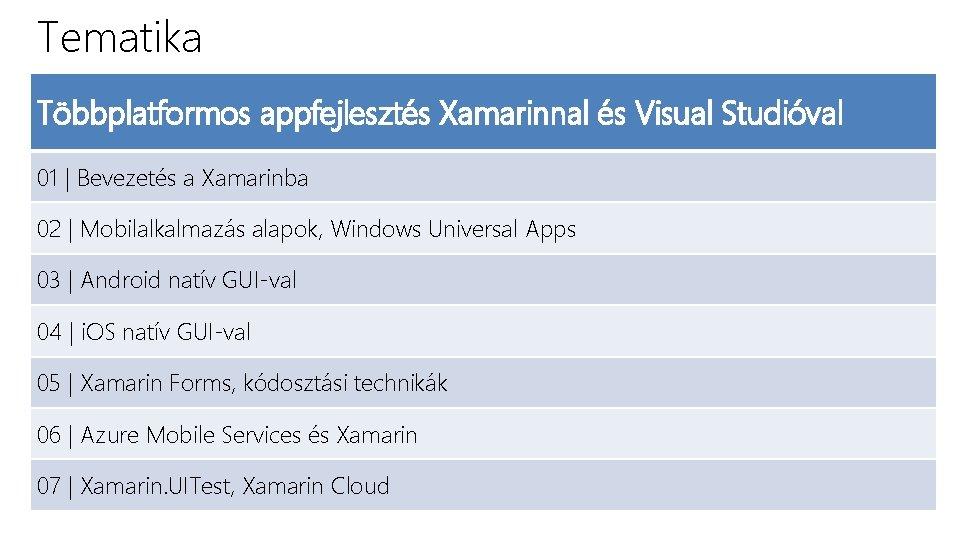 Tematika Többplatformos appfejlesztés Xamarinnal és Visual Studióval 01 | Bevezetés a Xamarinba 02 |