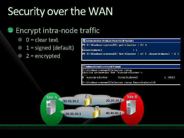 Security over the WAN Encrypt intra-node traffic 0 = clear text 1 = signed