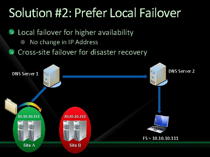 Solution #2: Prefer Local Failover Local failover for higher availability No change in IP