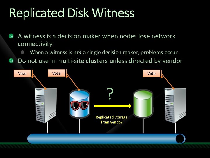 Replicated Disk Witness A witness is a decision maker when nodes lose network connectivity
