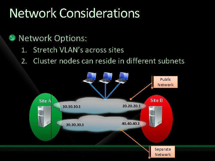 Network Considerations Network Options: 1. Stretch VLAN's across sites 2. Cluster nodes can reside