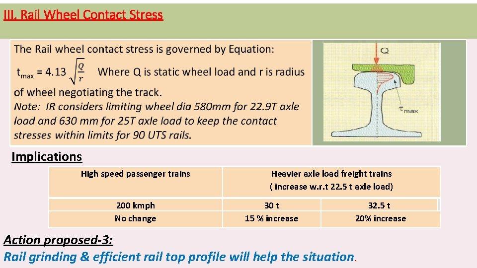 III. Rail Wheel Contact Stress Implications High speed passenger trains 200 kmph No change