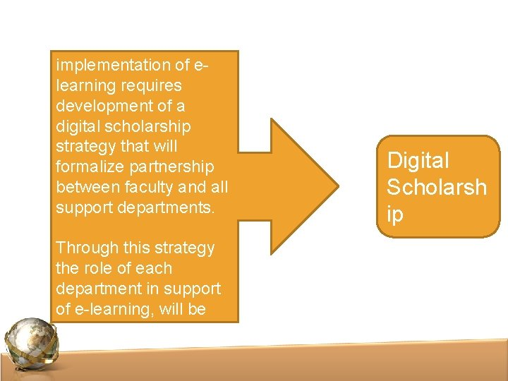 Successful implementation of elearning requires development of a digital scholarship strategy that will formalize