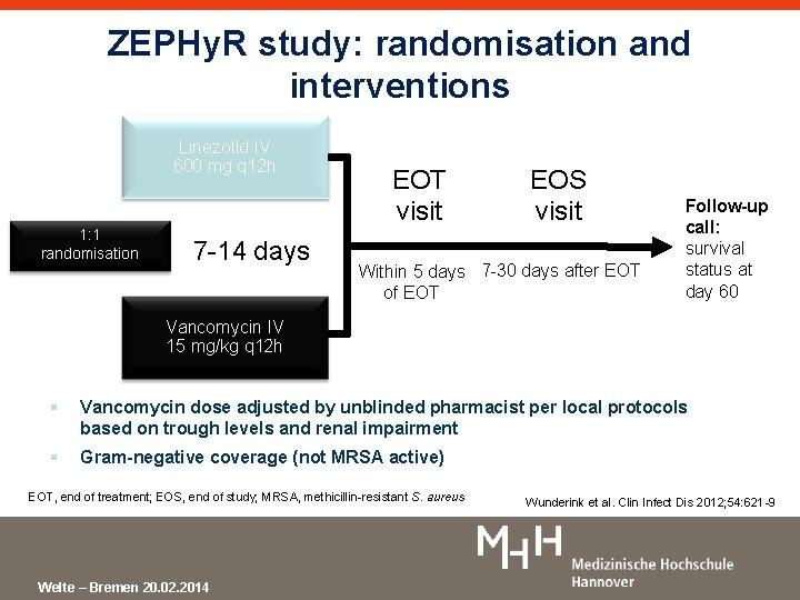 ZEPHy. R study: randomisation and interventions Linezolid IV 600 mg q 12 h 1: