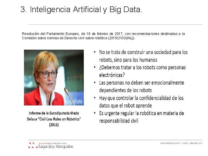 3. Inteligencia Artificial y Big Data. Resolución del Parlamento Europeo, de 16 de febrero