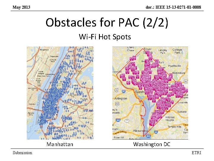 May 2013 doc. : IEEE 15 -13 -0271 -01 -0008 Obstacles for PAC (2/2)