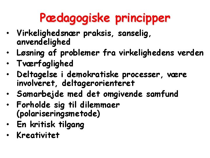 Pædagogiske principper • Virkelighedsnær praksis, sanselig, anvendelighed • Løsning af problemer fra virkelighedens verden