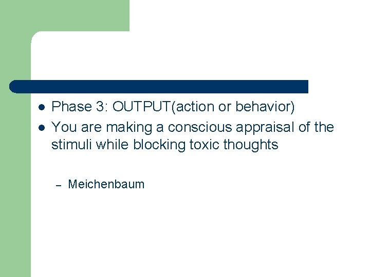 l l Phase 3: OUTPUT(action or behavior) You are making a conscious appraisal of