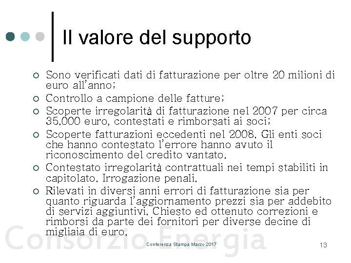 Il valore del supporto ¢ ¢ ¢ Sono verificati di fatturazione per oltre 20
